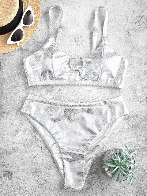 ZAFUL Costume da Bagno Bikini Stringato con Stampa Frutto Della Passione a Taglio Alto - Argento S Mobile
