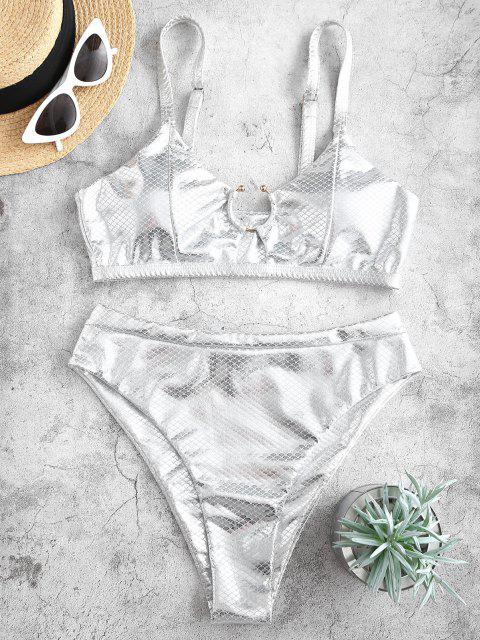 fashion ZAFUL Metallic Scale Print Ring High Cut Bikini Swimwear - SILVER M Mobile