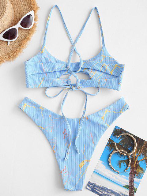 sale ZAFUL Ribbed Lace-up Marble Print Bikini Swimwear - LIGHT BLUE M Mobile