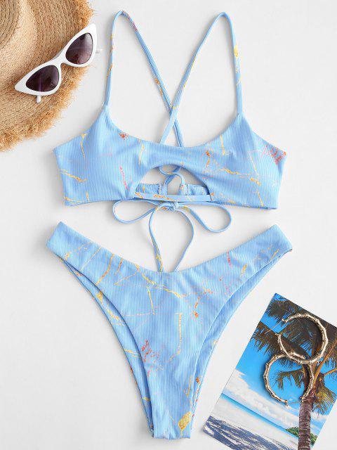 affordable ZAFUL Ribbed Lace-up Marble Print Bikini Swimwear - LIGHT BLUE L Mobile