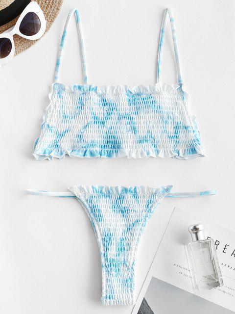 buy ZAFUL Tie Dye Smocked Ruffle Thong Bikini Swimwear - LIGHT BLUE S Mobile