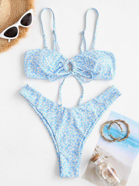 ZAFUL Costume da Bagno Bikini a Righe con Stampa Incrociata Ditsy - Azzurro M Mobile
