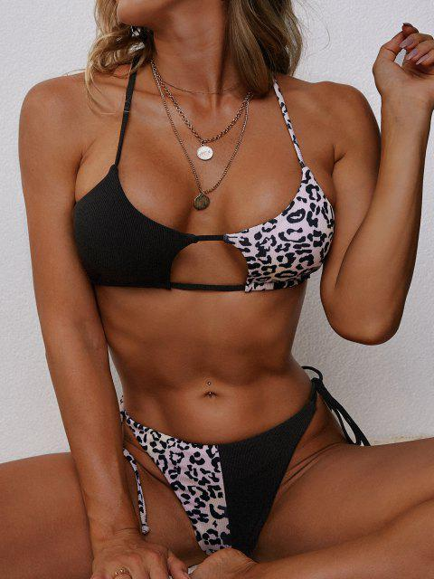 latest ZAFUL Leopard Ribbed Cutout Tanga Bikini Swimwear - BLACK L Mobile