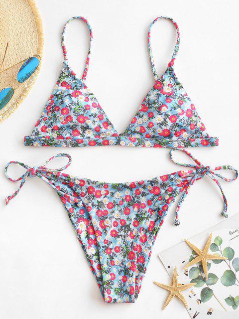trendy ZAFUL Ribbed Ditsy Floral Tie String Bikini Swimwear - LIGHT BLUE M Mobile