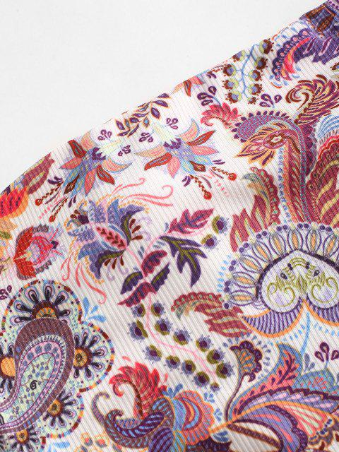 affordable ZAFUL Ribbed Paisley Print Bandana Bikini Top - WHITE M Mobile
