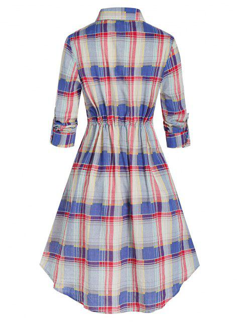 Plus Size Plaid Roll Up Sleeve Drawstring Shirt Dress - وردي فاتح 4X Mobile