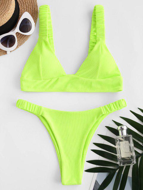 hot ZAFUL Elasticated Straps Ribbed Bikini Swimwear - GREEN S Mobile