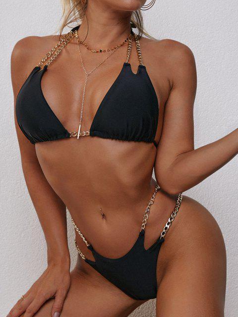 chic ZAFUL Halter Metallic Chains Tanga Bikini Swimwear - BLACK M Mobile