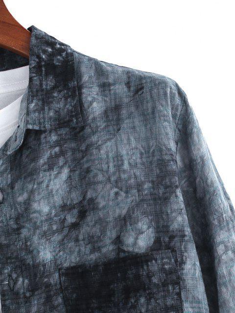 trendy Tie Dye Plaid Long Sleeve Pocket Patch Shirt - MULTI 2XL Mobile