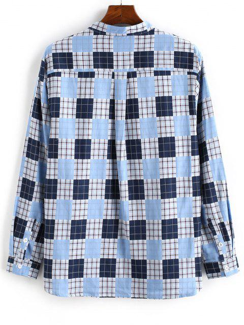 ladies Plaid Pattern Half Button Long Sleeve Shirt - LIGHT BLUE XL Mobile