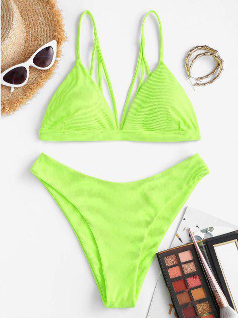 unique ZAFUL Ribbed Back Strappy Bikini Swimwear - GREEN M Mobile