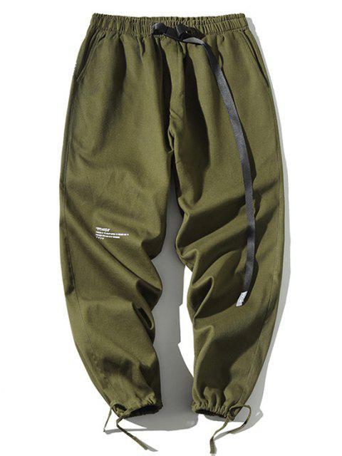 Pantalones Letra Estampada Lazo Ajustable - Verde M Mobile