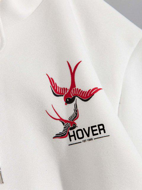 Vogel Rose Blumen Druck Vlies Hoodie - Weiß 2XL Mobile