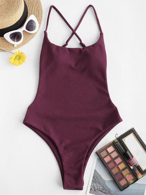 online ZAFUL Ribbed Criss Cross One-piece Swimsuit - DEEP RED M Mobile