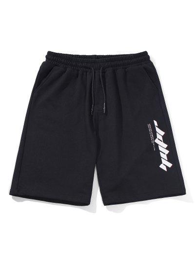 Letter Text Drawstring Straight Shorts - Black M