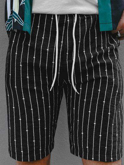 Stripes Pattern Elastic Waist Shorts - Black M