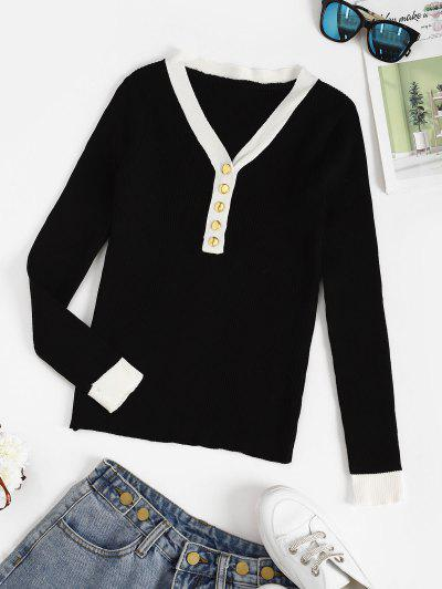Ribbed Button Placket Bicolor Sweater - Black