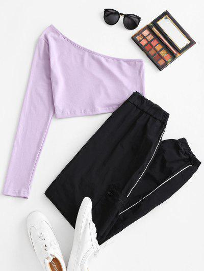 One Shoulder Top And Piping Windbreaker Pants Set - Light Purple S
