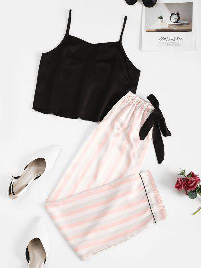 Striped Bowknot Mix And Match Pajama Shorts Set - Black L
