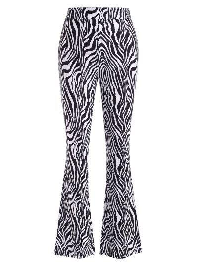Zebra Print Flare Pants - Black S