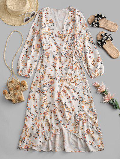 Flower Print Plunging Ruffle Wrap Dress - Light Yellow Xl