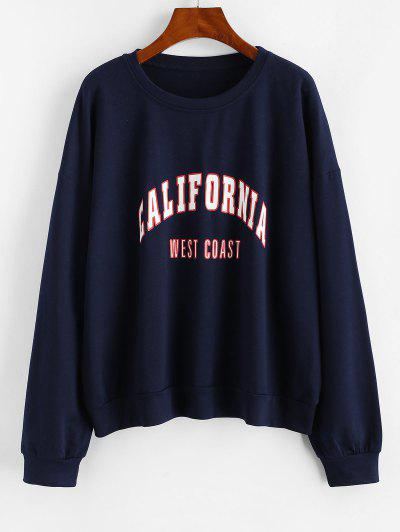 Letter Graphic Drop Shoulder French Terry Sweatshirt - Deep Blue L