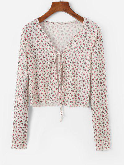 Ditsy Floral Print Tie Front Cardigan - Red