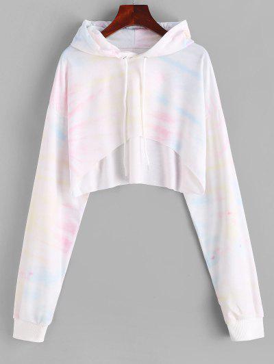 High Low Tie Dye Cropped Hoodie - Warm White M