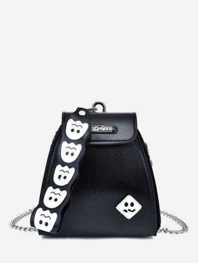 Cute Ghost Pattern Leather Mini Tote Bag - Black