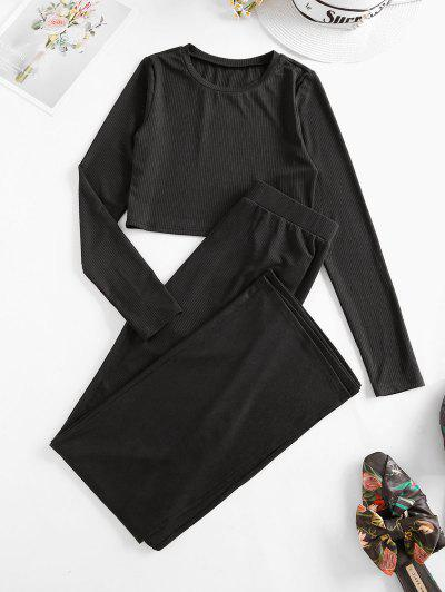 ZAFUL Rib Knit Side Slit Two Piece Pants Set - Black S
