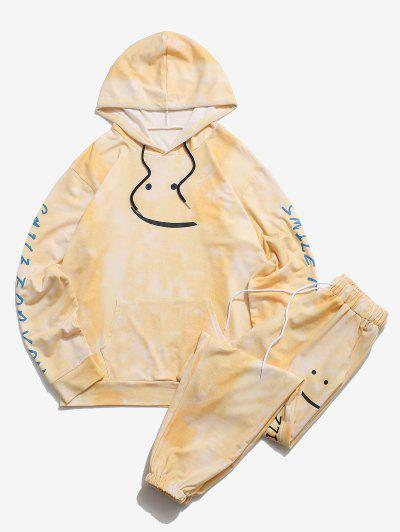 Smile For You Tie Dye Hoodie And Pants Two Piece Set - Yellow S
