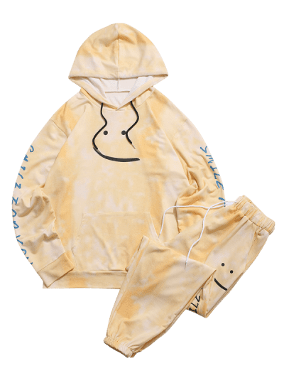 Smile For You Tie Dye Hoodie and Pants Two Piece Set