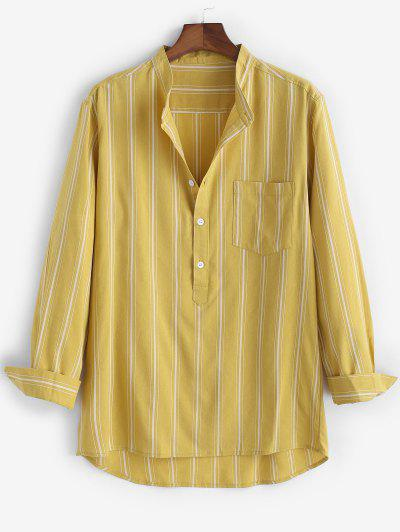 High Low Striped Half Button Pocket Patch Shirt - Yellow M
