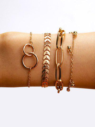 Circles Leaves Shape Bracelets Set - Golden