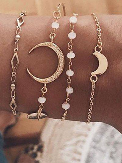 Crescent Geometric Shape Bracelets Set - Golden