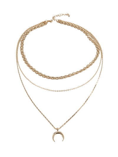 Crescent Layered Pendant Necklace
