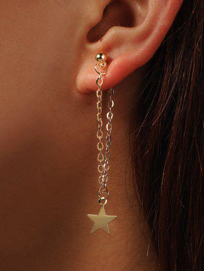 Star Long Chain Earrings - Golden