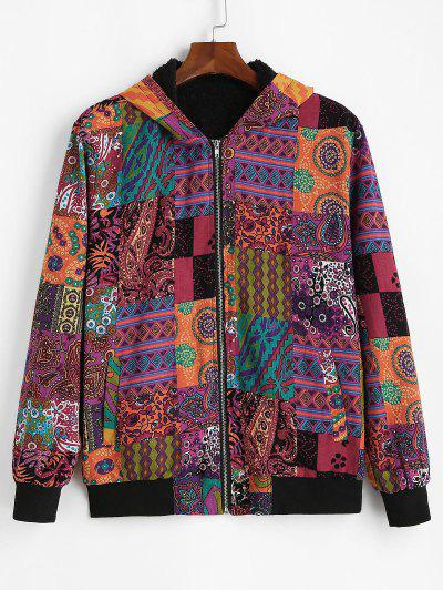 Fluffy Paisley Floral Tribal Pattern Hooded Jacket - Multi M