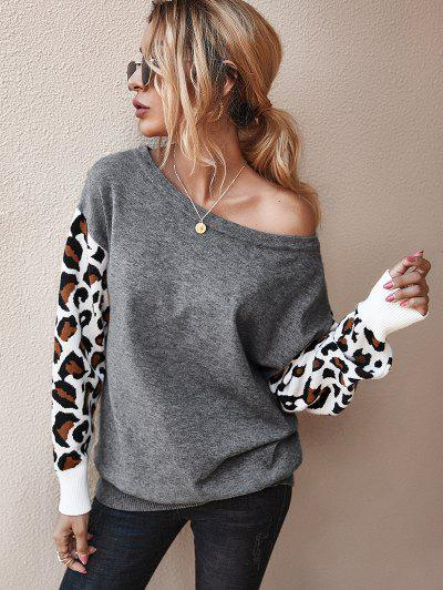 Drop Shoulder Leopard Panel Pullover Sweater - Gray S