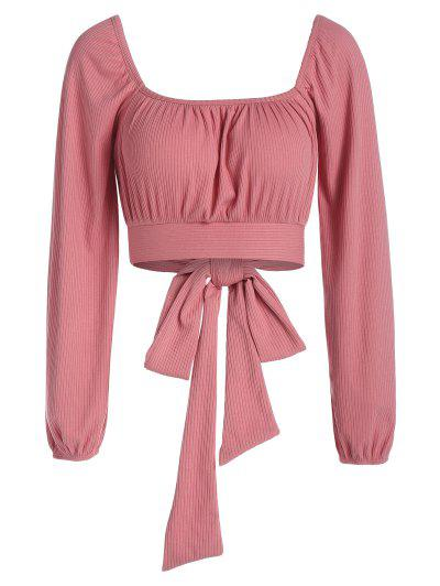 ZAFUL Back Tie Raglan Sleeve Cropped Tee - Lipstick Pink M