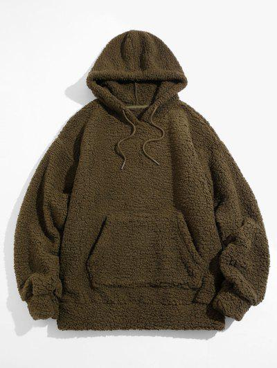 Fluffy Solid Kangaroo Pocket Hoodie - Deep Green L