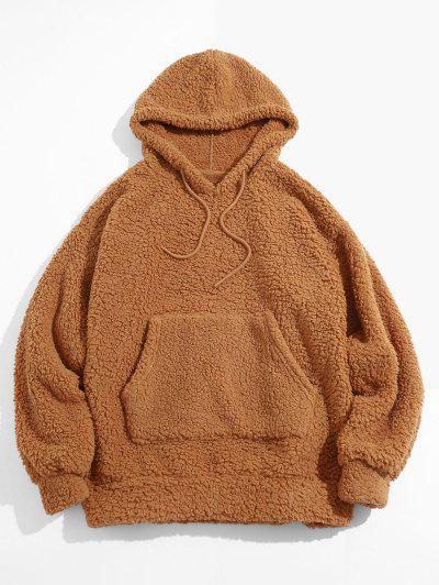 Fluffy Solid Kangaroo Pocket Hoodie - Deep Yellow Xl