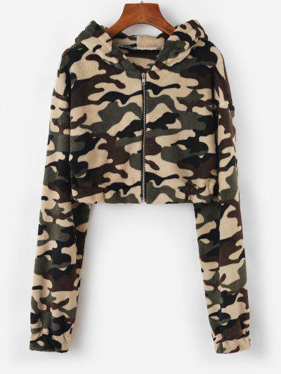 Hooded Camo Fleece Crop Jacket - Deep Green Xl