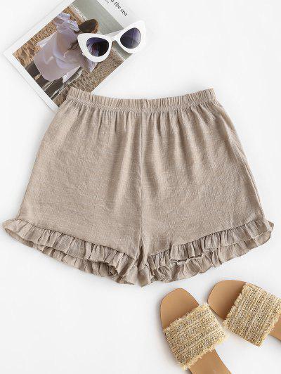Semi-sheer Ruffled Beach Shorts - Light Coffee