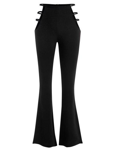 Ladder Cutout Waist Textured Bootcut Pants - Black S