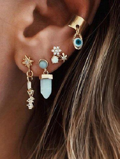 Rhinestone Star Flower Shape Earrings Set - Golden