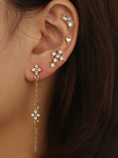 4 Piece Rhinestone Stud And Long Drop Earrings Set - Golden