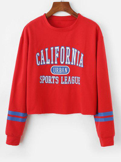 Stripes Panel Raw Hem CALIFORNIA Graphic Sweatshirt - Red L