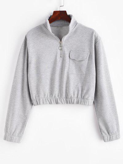 Half Zip High Neck Flap Pocket Cargo Sweatshirt - Gray Goose S