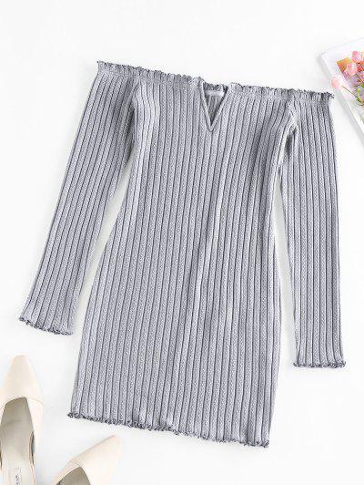 ZAFUL Off Shoulder Frilled V Wired Ribbed Dress - Gray Cloud Xl